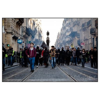 Photo Mouvement gilets jaunes fevrier 2019. Mouvement Gilets Jaunes, 16 février 2019. Place Pey-Berla…
